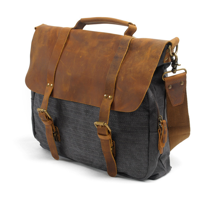 Good quality designer brand vintage leather canvas messenger bag ...