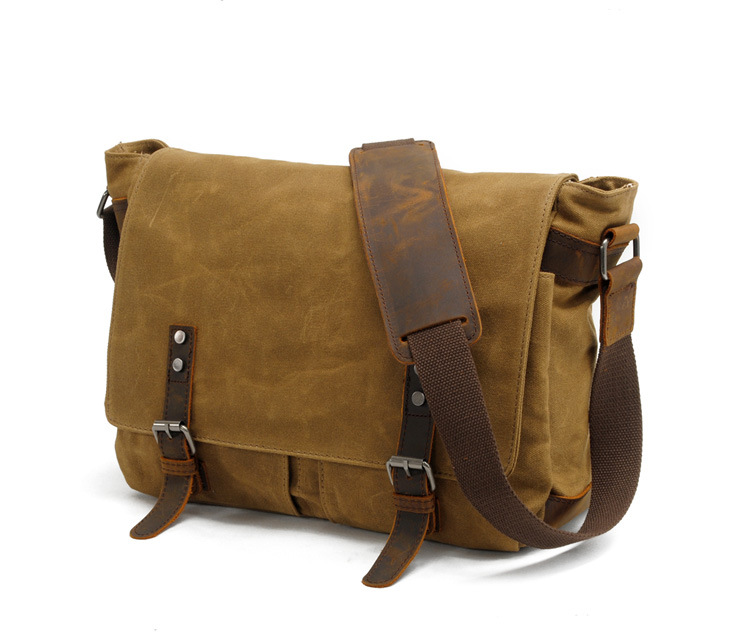 OEM design cheap price waxy waterproof canvas messenger bag camera bag