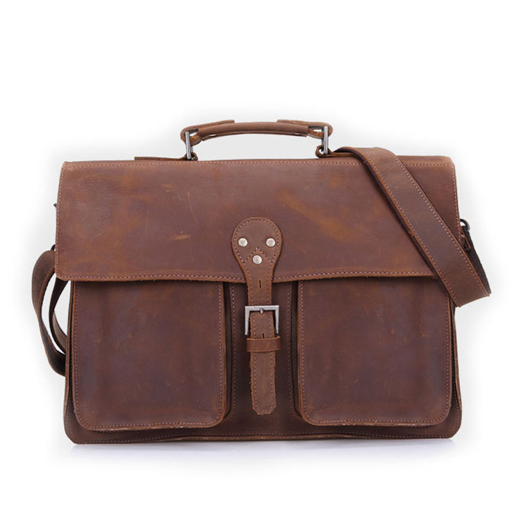 handmade real leather briefcase / satchel fits ipad/tab small. Bag is made of Genuine Real Goat Leather (Full Grain) processed naturally. But this won't effect the durability of bag.