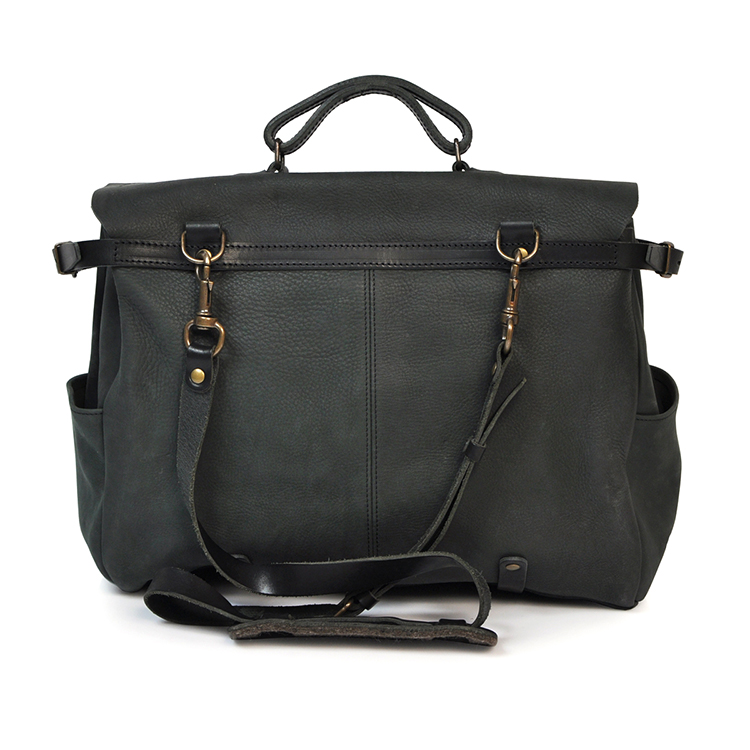 High quality durable mens black leather laptop messenger bag