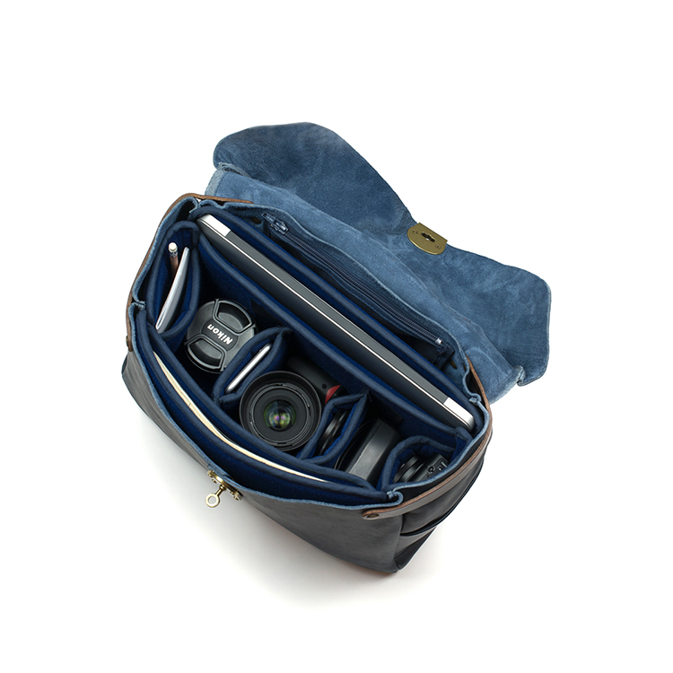 Good quality navy blue leather Nikon camera bag cross body bag