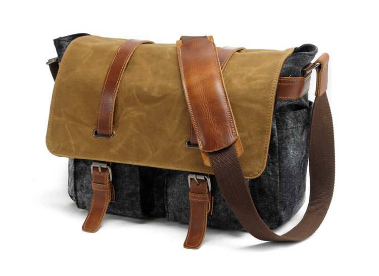 China factory vintage style quality thick canvas camera bag messenger bag