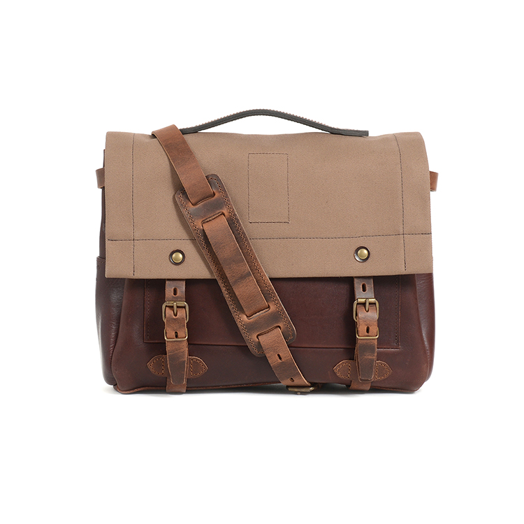 New design daily use vintage leather with canvas messenger bag laptop bag