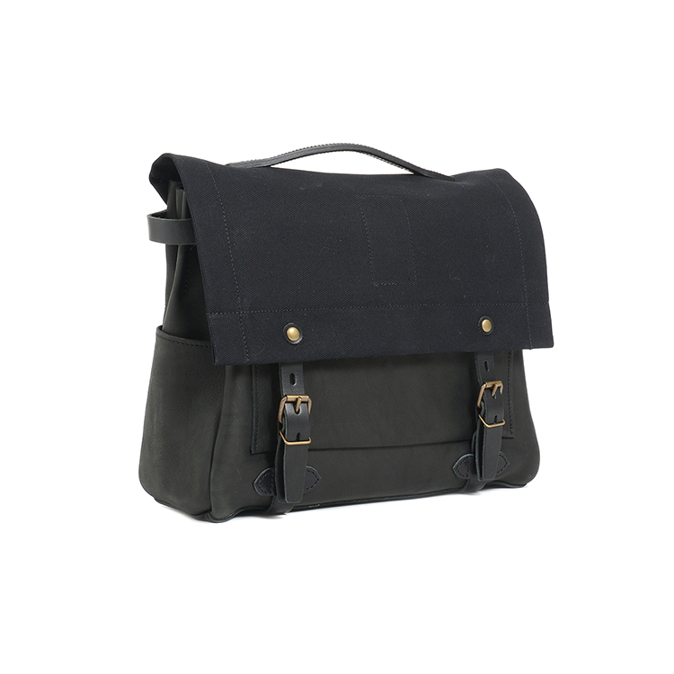 New design high end black leather with canvas postmen bag laptop bag