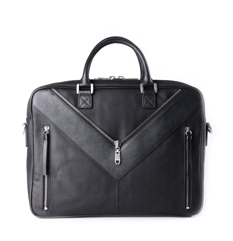 Branded design good quality black canvas with leather briefcase for business men