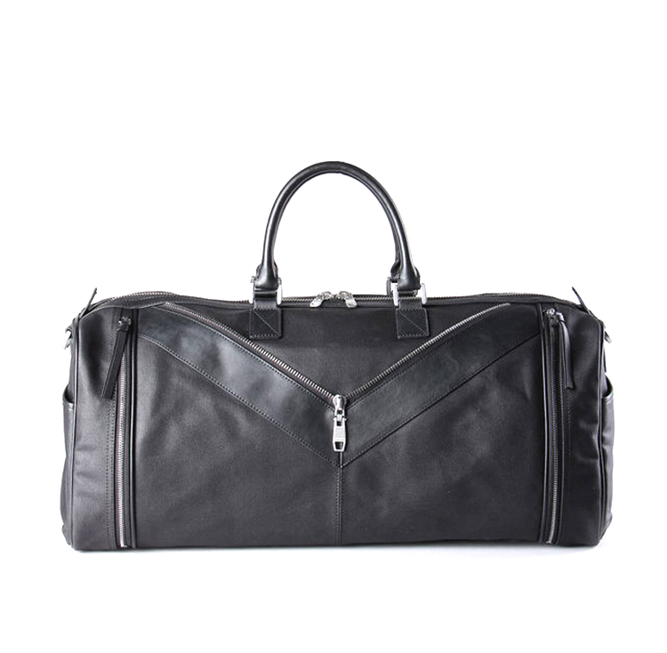 Fashion luxury design black canvas with leather travel bag for weekend