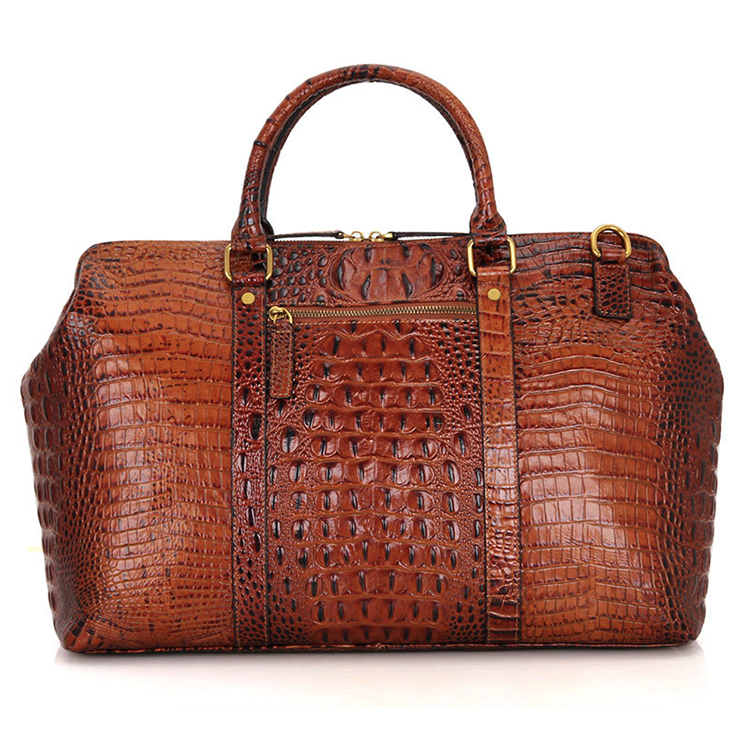 High end brown croc print real leather duffle bag for weekend travelling