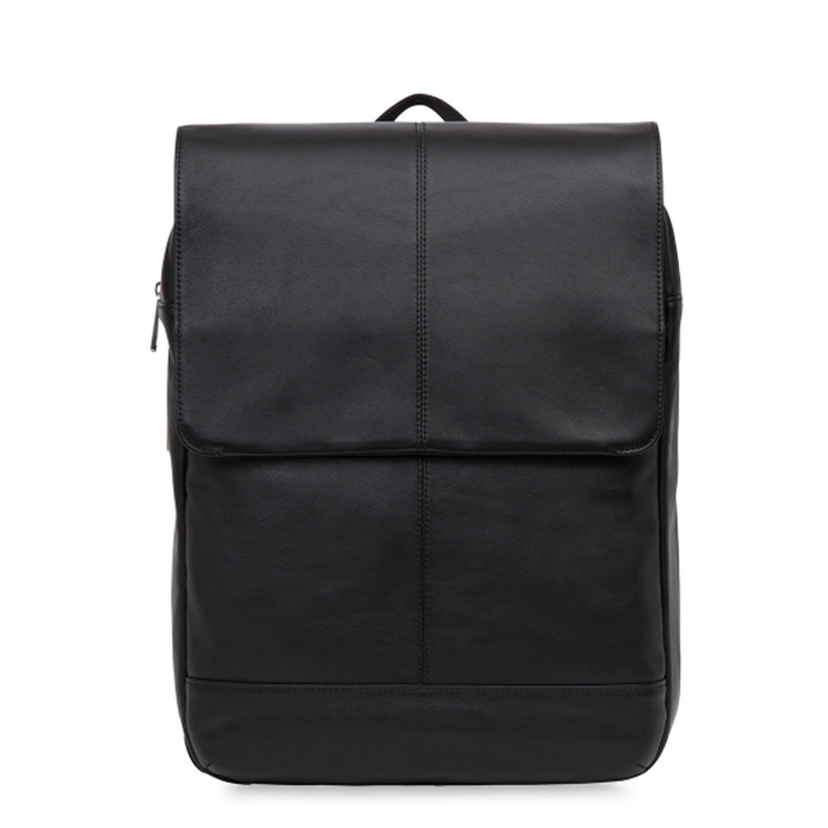 2017 Newest fashion design good quality black leather backpack for men