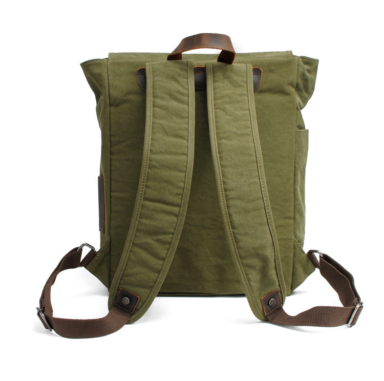 Wholesale price durable 16Oz waxy canvas laptop backpack for school student