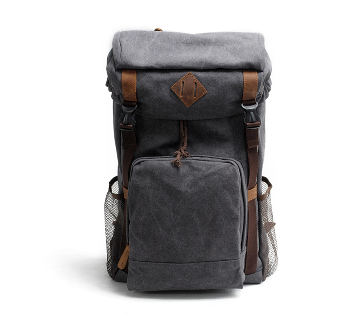 Wholesale price good quality large capacity waxy canvas backpack for outdoor travelling