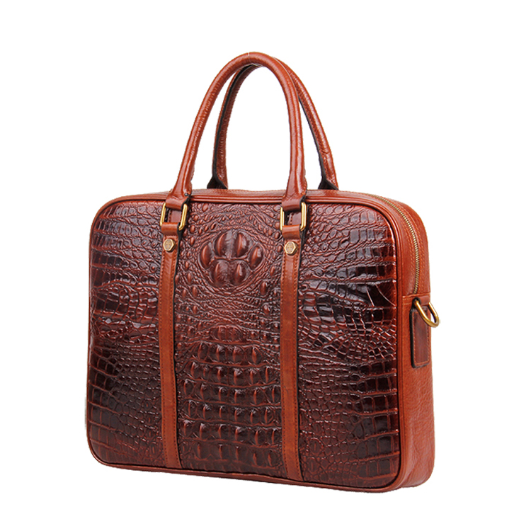 Hot selling good price vintage design brown croc print leather briefcase for men