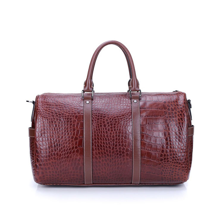 2017 high end brown color croc print real leather travel duffel bags