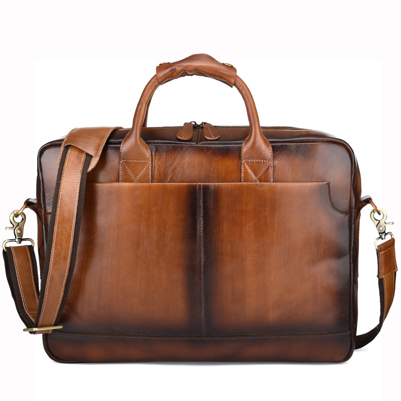 Factory Price Good Quality OEM Design Laptop Bag Vintage Brown Leather document bags