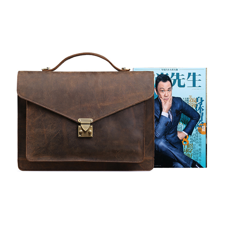 Amazon hot sale custom logo designer bag vintage crazy horse leather briefcase for business men