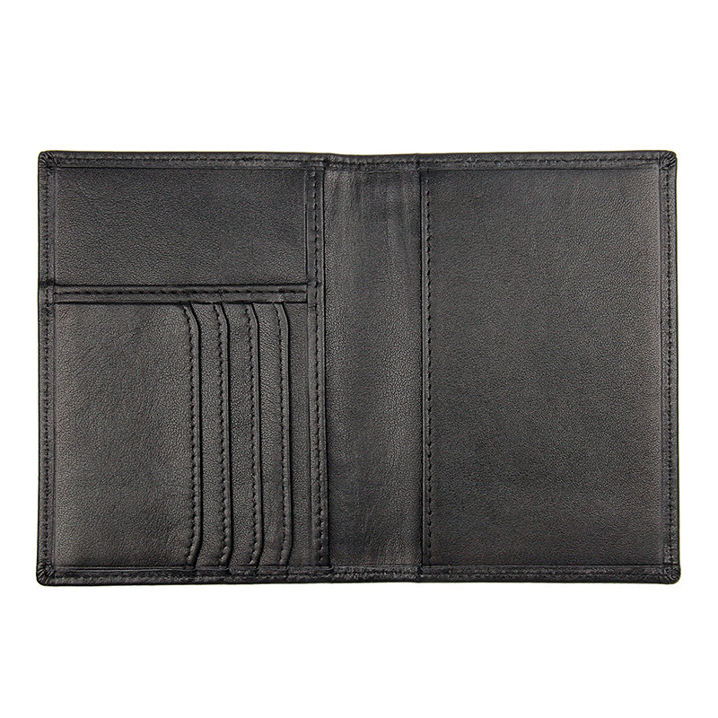 Factory cheap price good quality full grain leather travel wallet black leather passport holder