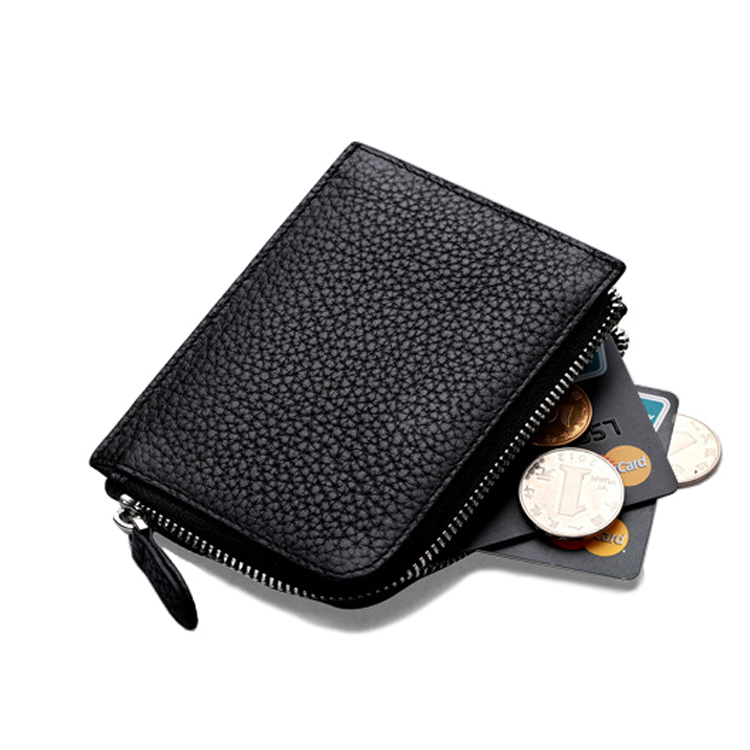 Cool Design Best Quality Mini Size Black Leather Slim Coin Wallet with Card Slots