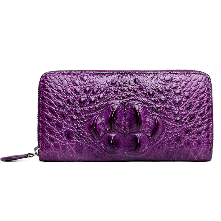Luxury zipper design good quality purple alligator skin leather wallet for women