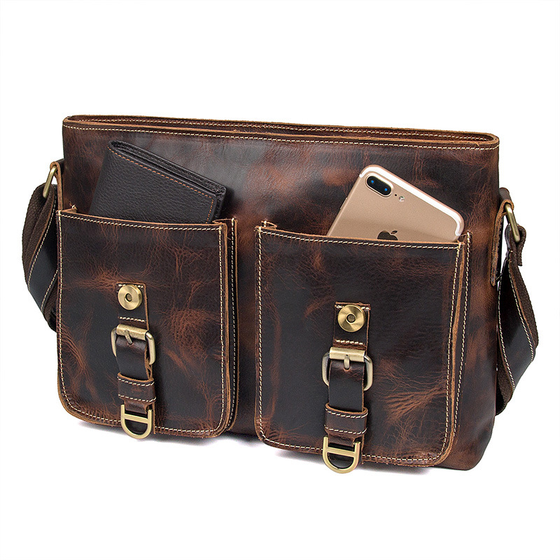 Customzied design european style retro brown leather messenger for men