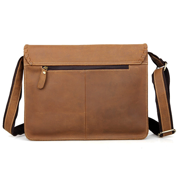 Hot selling vintage style real leather satchel messenger bag for men