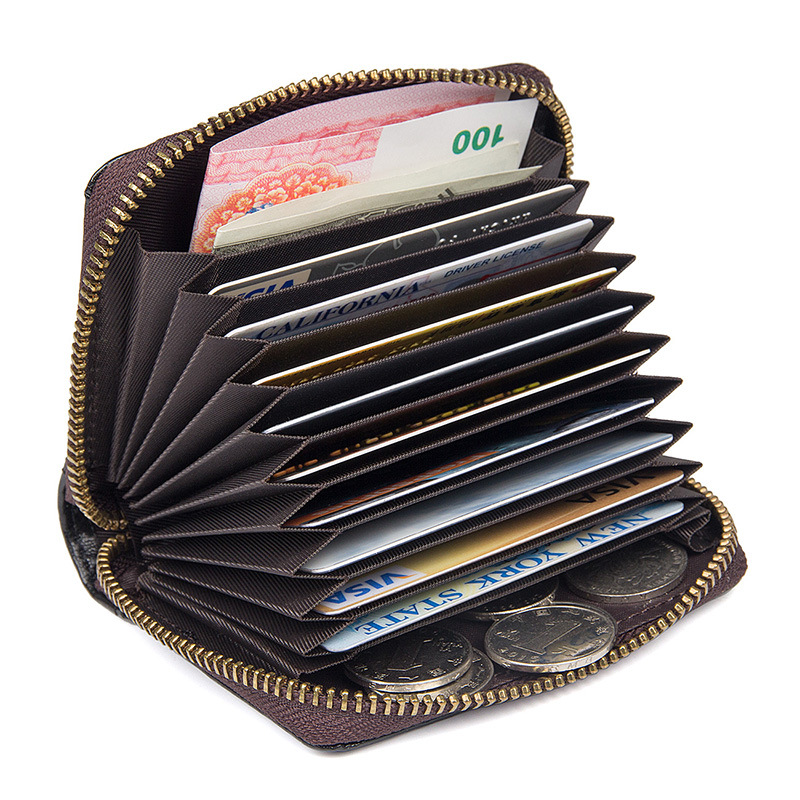 Hot sales cheap price good quality full grain leather credit cards wallet name cards holder