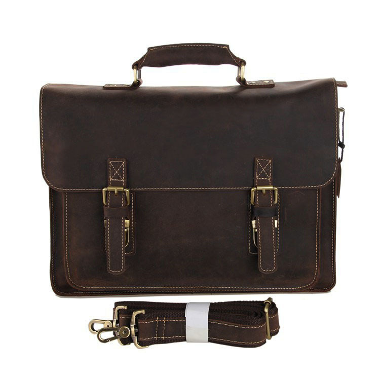 Good quality cheap price brown crazy horse leather sling bags for men