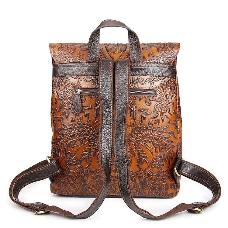 Manufacturer cheap price good quality vintage brown leather backpack for school