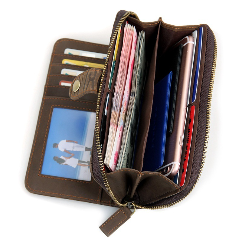 Newest design high quality genuine leather credit cards wallet travel wallet