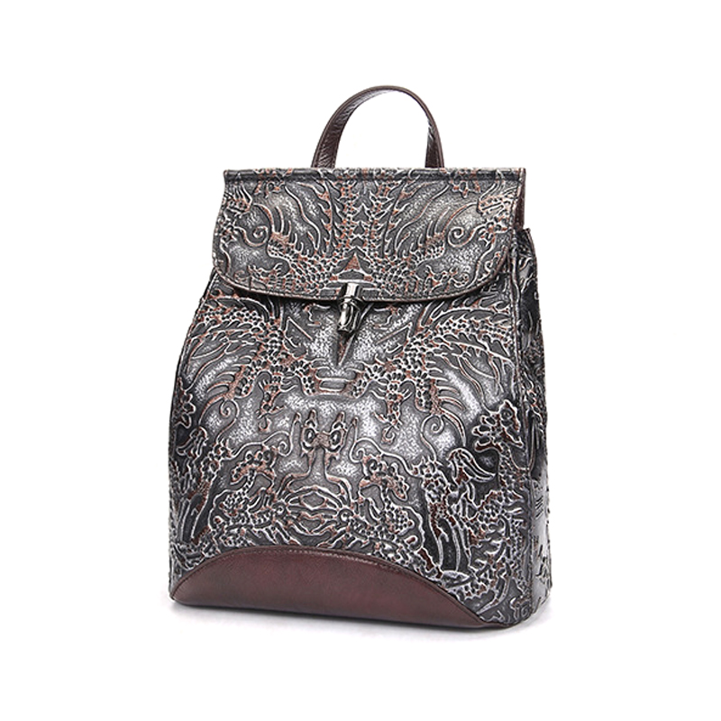 Wholesale price vintage style good quality grey color genuine leather backpack for women