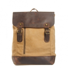 High quality vintage style thick canvas and crazy horse leather school bags backpack