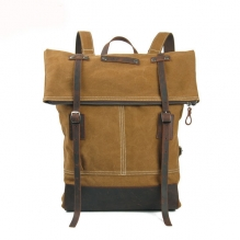 Newest design vintage canvas backpack custom logo for university students