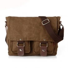 Daily use 16 Oz canvas men two sided over the shoulder bag