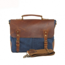 Hot selling good quality canvas genuine leather laptop messenger bag