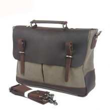 High end genuine leather canvas crossbody shoulder laptop bags 2015
