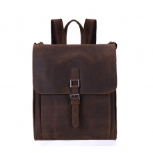 New arrival vintage style men crazy horse leather school backpack bag