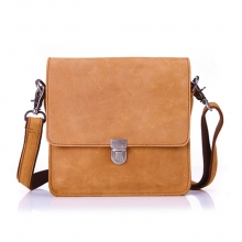 Good quality camel crazy horse leather mens shoulder bag