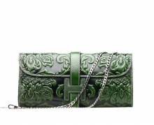 Chinese style custom handmade leather purses wallets for women