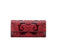 2017 Chinese style ladies italian red leather  purses wallet