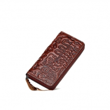 High quality good price handmade leather zipper travel wallets