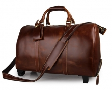 Good quality vintage style real leather trolley duffel bags