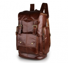Outdoor large capacity vintage real leather laptop backpacks bag