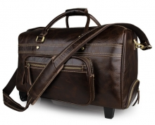 Factory price vintage style real leather travel luggage bag on sale