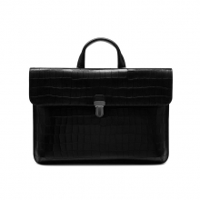High end black leather croc print business briefcase bag