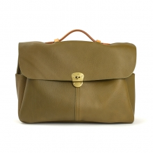 Newest design vintage style olive leather messenger laptop bag men briefcase