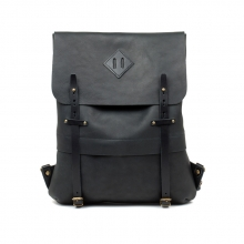 Good quality best selling men black leather school backpack bag