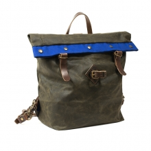 Factory wholesale vintage softback waxy canvas leather trim backpack cycling rucksack