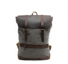 Wholesale price vintage style outdoor crazy horse leather canvas backpack for men