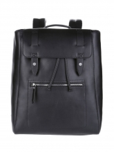 High end fashion urban design black leather backpack for men