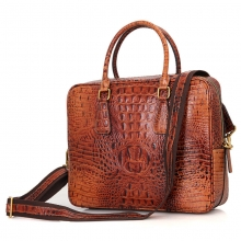 Good quality large capacity brown croc print leather briefcase bag for business men