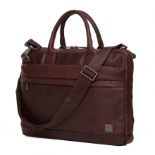 Hot sale good quality customized design reddish brown genuine leather briefcase for business men