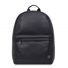 Good quality daily use black genuine leather laptop backpack for school